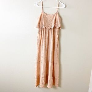 Love, Fire Lace Ruffled Slip Dress Pink S #4166